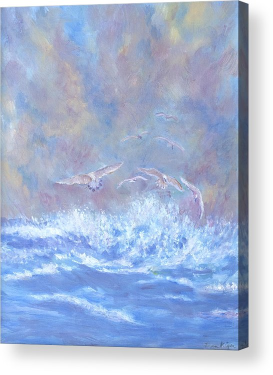 Seascape Acrylic Print featuring the painting Seagulls at Play by Ben Kiger