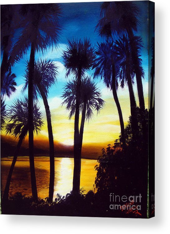 Blue Acrylic Print featuring the painting Sunset on the Banana River by Darlene Green