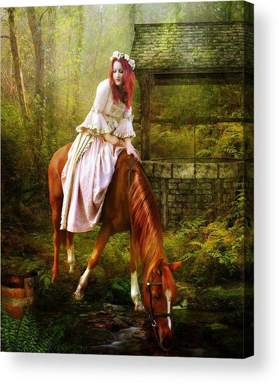 Horse Acrylic Print featuring the digital art The Waterhole by Karen Koski