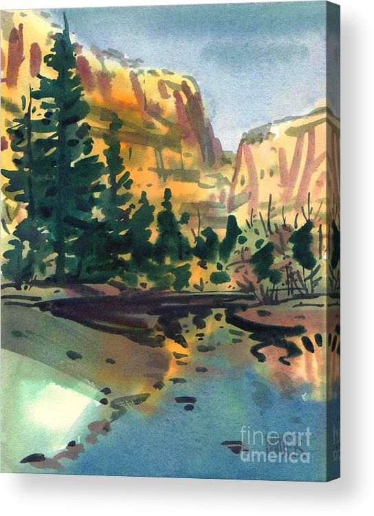 Watercolor Acrylic Print featuring the painting Yosemite Valley in January by Donald Maier