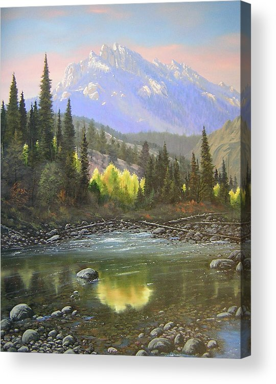 Landscape Acrylic Print featuring the painting 060409-2430 Long Scraggy Mountain - Reflections  by Kenneth Shanika