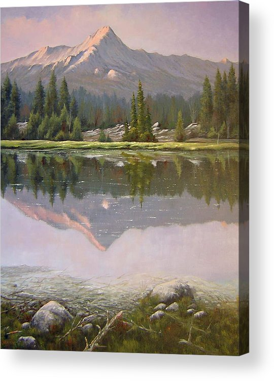 Landscape Acrylic Print featuring the painting 060923-2430 Reflections At Days End  by Kenneth Shanika