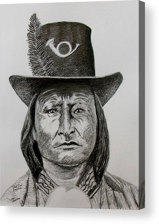 Portrait Acrylic Print featuring the drawing Chief Bird Arapahoe by Stan Hamilton