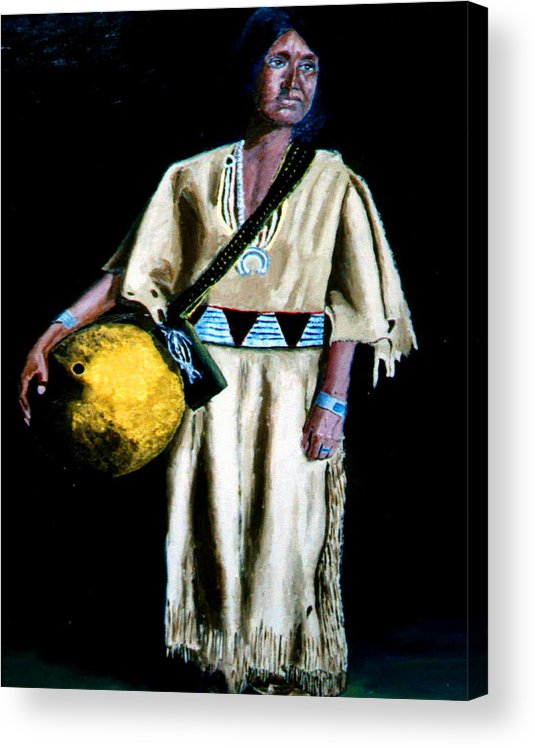 Indian Maiden Acrylic Print featuring the painting Indian Maiden by Stan Hamilton