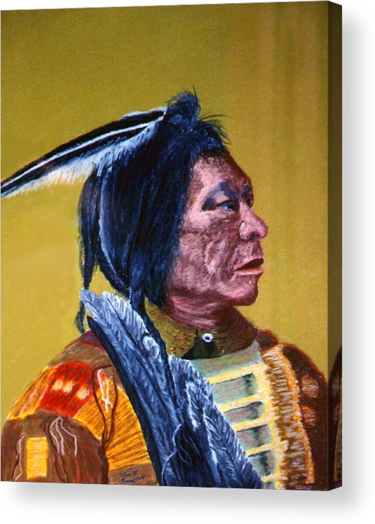 Indian Acrylic Print featuring the painting Indian Scout by Stan Hamilton