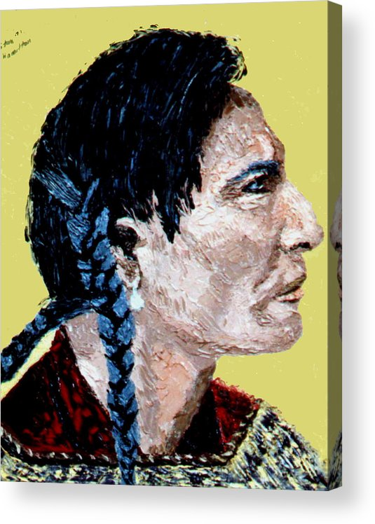 Indian Acrylic Print featuring the painting Indian Side Profile by Stan Hamilton