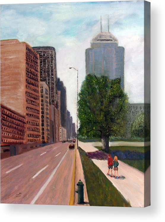 Indianapolis Acrylic Print featuring the painting Indy Kids by Stan Hamilton