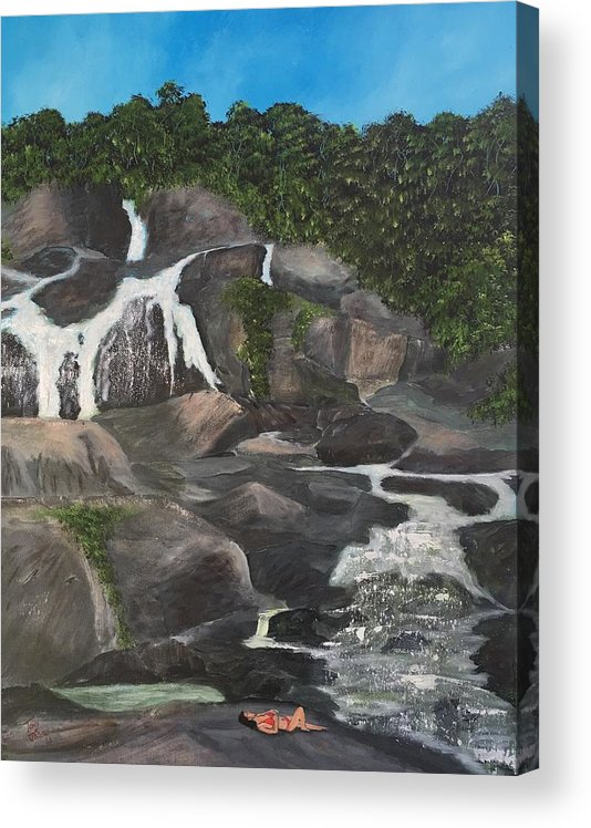 Rainforest Acrylic Print featuring the painting Lady in Red by Tony Rodriguez