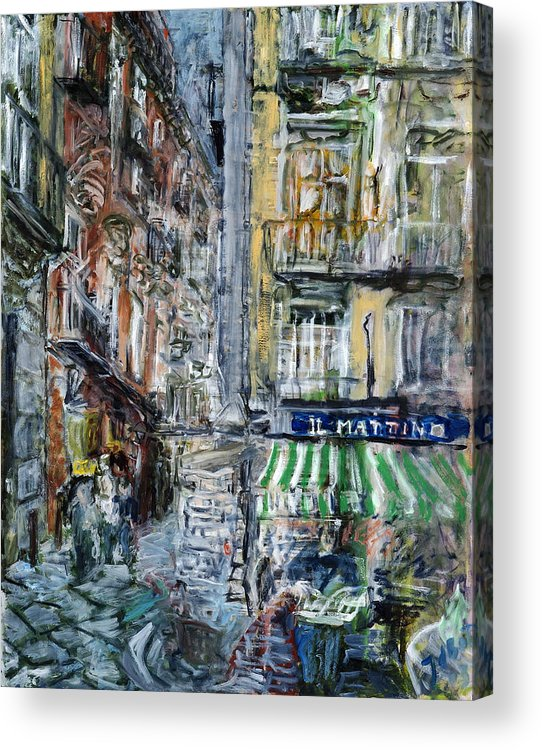 Cityscape Naples Italy Kiosk Alley Way Newspapers Acrylic Print featuring the painting Naples Kiosk by Joan De Bot