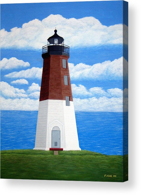 Lighthouse Paintings Acrylic Print featuring the painting Point Judith Lighthouse by Frederic Kohli