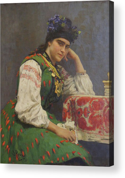 Ilya Repin Acrylic Print featuring the painting Portrait Of Sophia Dragomirova by Ilya Repin