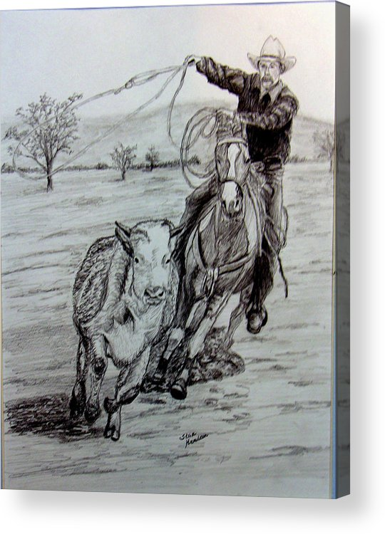 Cowboy Acrylic Print featuring the drawing Ranch work by Stan Hamilton