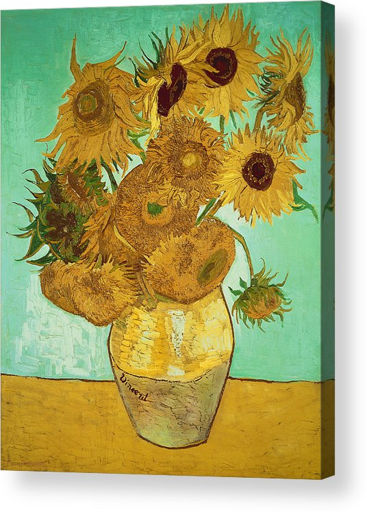 Sunflowers Acrylic Print featuring the painting Sunflowers by Van Gogh by Vincent Van Gogh