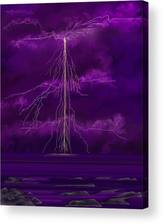 Lightning Storm Acrylic Print featuring the painting Tesla by Anne Norskog