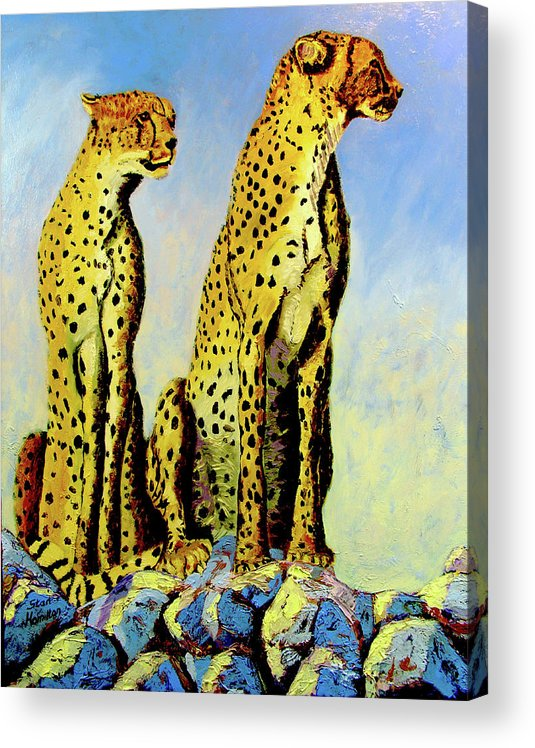 Cheetahs Acrylic Print featuring the painting Two Cheetahs by Stan Hamilton