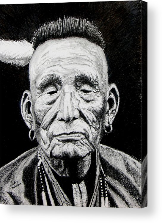 Indian Acrylic Print featuring the drawing Unknown Indian by Stan Hamilton