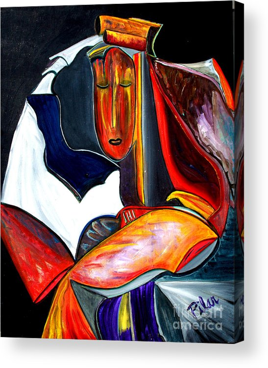 Acrylic Print featuring the painting Mystery Woman by Pilar Martinez-Byrne