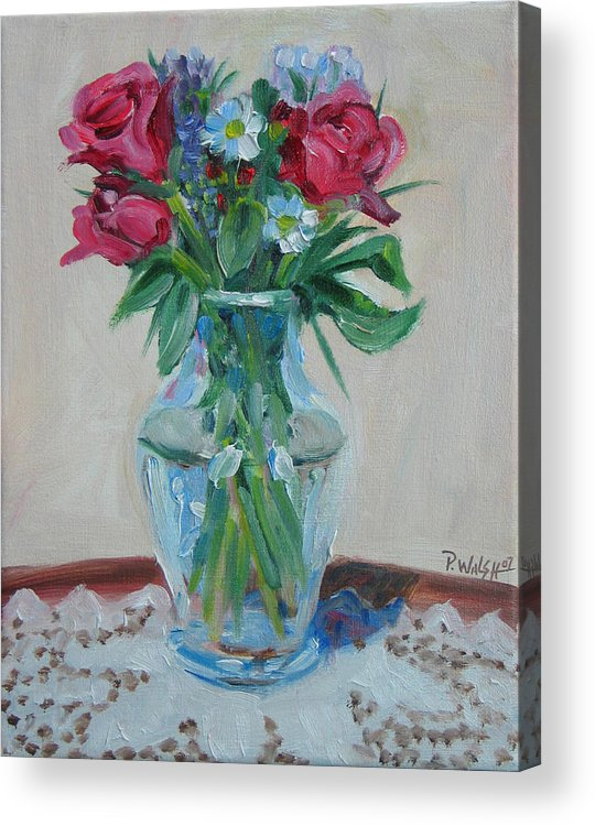 Roses Acrylic Print featuring the painting 3 Roses by Paul Walsh