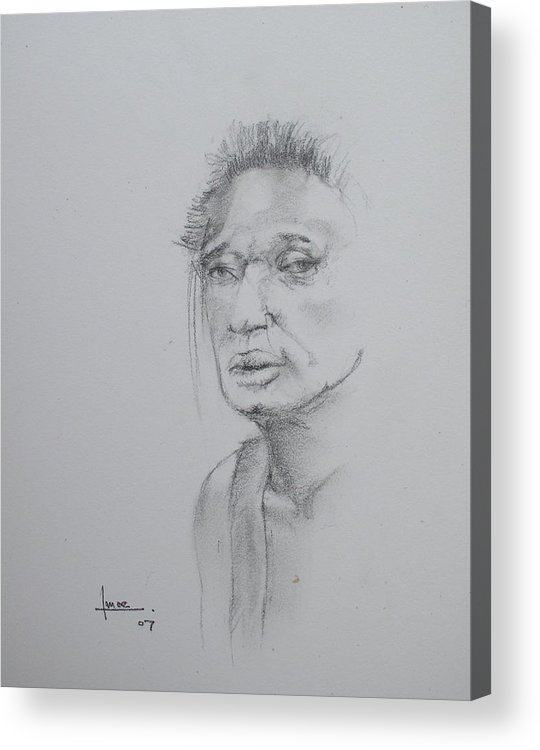 Portrait Acrylic Print featuring the drawing Untitled 5 by Victor Amor