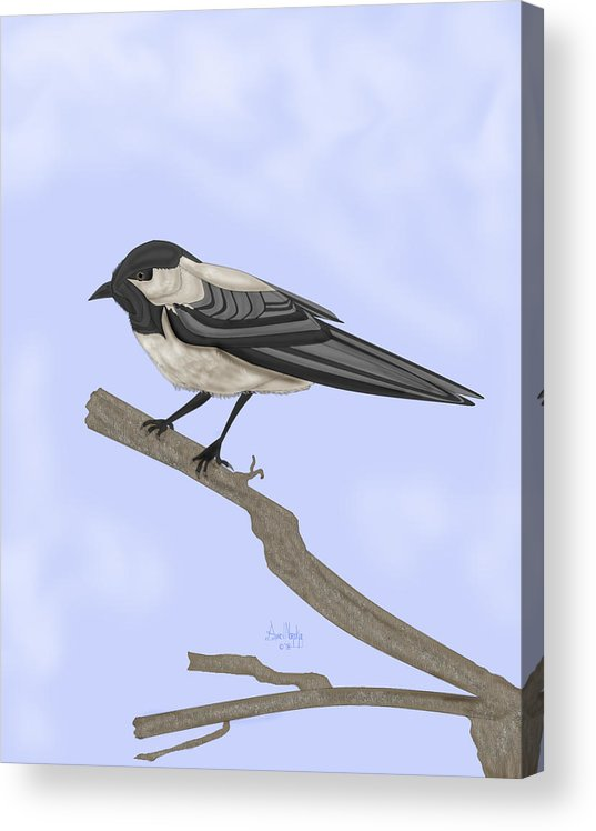 Bird Acrylic Print featuring the painting A Small Guest by Anne Norskog
