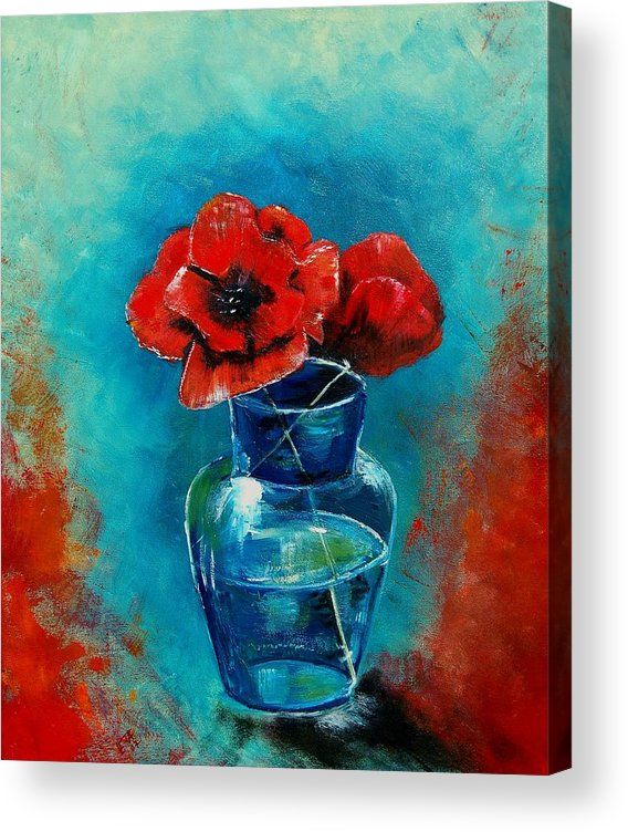 Flowers Acrylic Print featuring the painting A vase with poppies by Veronique Radelet