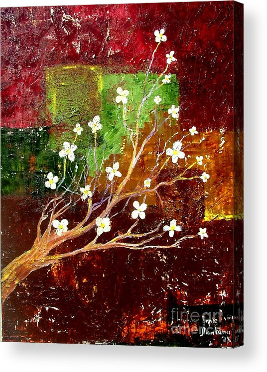 Abstract Acrylic Print featuring the painting Abstract Blossom by Inna Montano