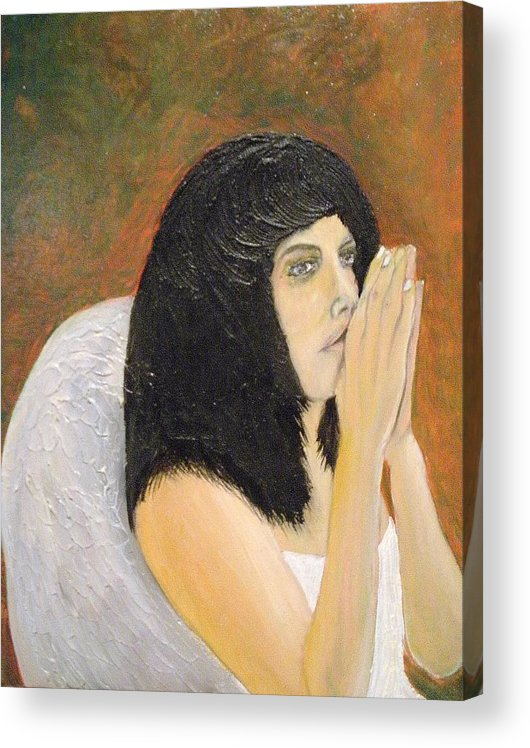 She Prays For All Mankind Acrylic Print featuring the painting Annolita Praying by J Bauer