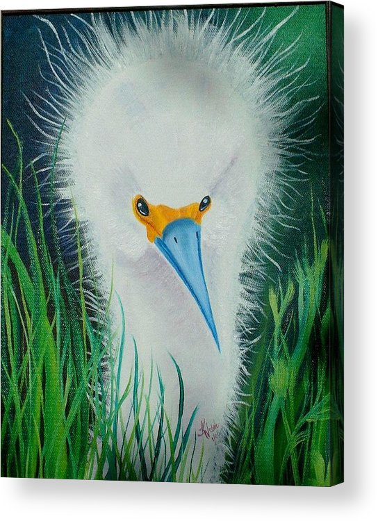 Egret Acrylic Print featuring the painting Another Bad Hair Day by Kathern Ware