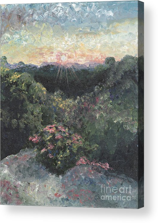 Landscape Acrylic Print featuring the painting Arkansas Mountain Sunset by Nadine Rippelmeyer