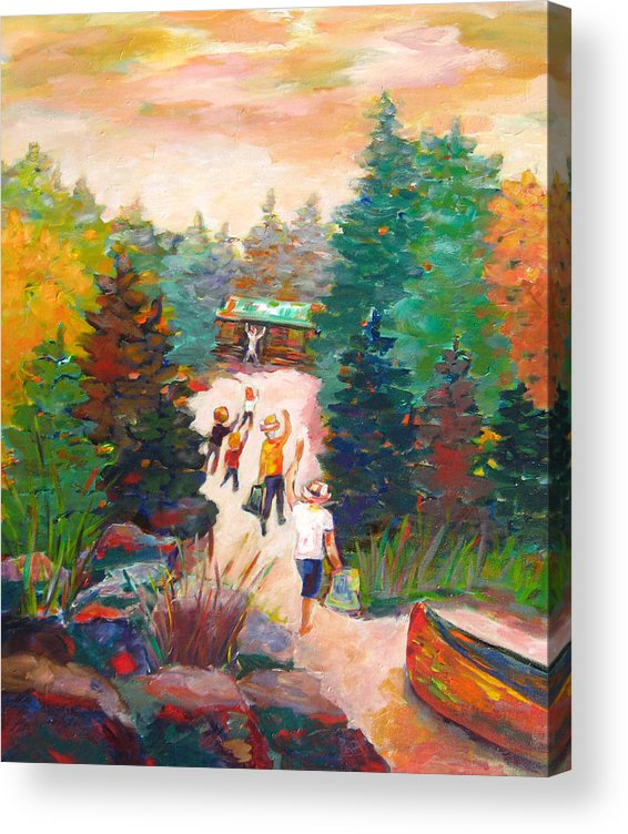 Visiting A Wilderness Cabin With Family On The Lake With A Canoe Is Just Plain Fun! Acrylic Print featuring the painting Arrivals by Naomi Gerrard