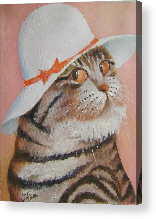 Cats Acrylic Print featuring the painting Arrogant Cat by Lian Zhen