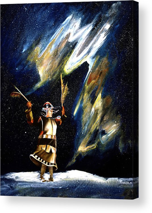 Alaska Acrylic Print featuring the painting Aurora Dancer by Dianne Roberson
