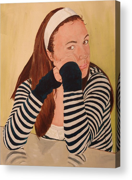 Kevin Callahan Acrylic Print featuring the painting B Listens to the Artist by Kevin Callahan