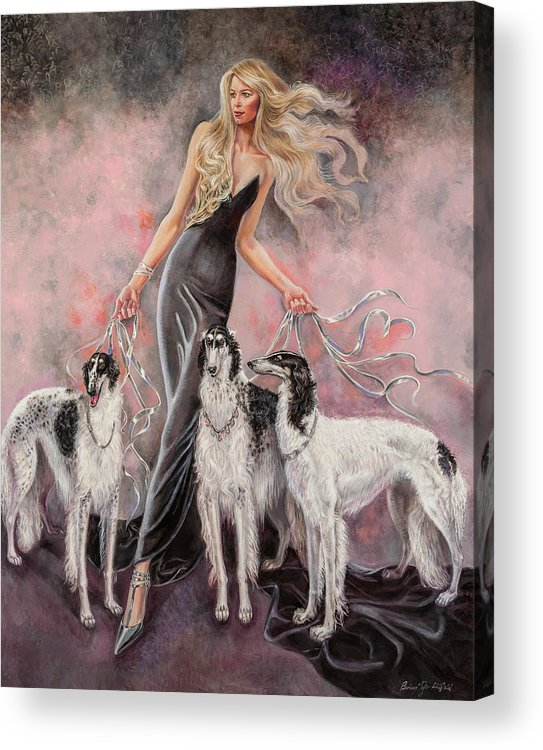 Barbara Tyler Ahlfield Acrylic Print featuring the painting Babs with Three Borzois by Barbara Tyler Ahlfield