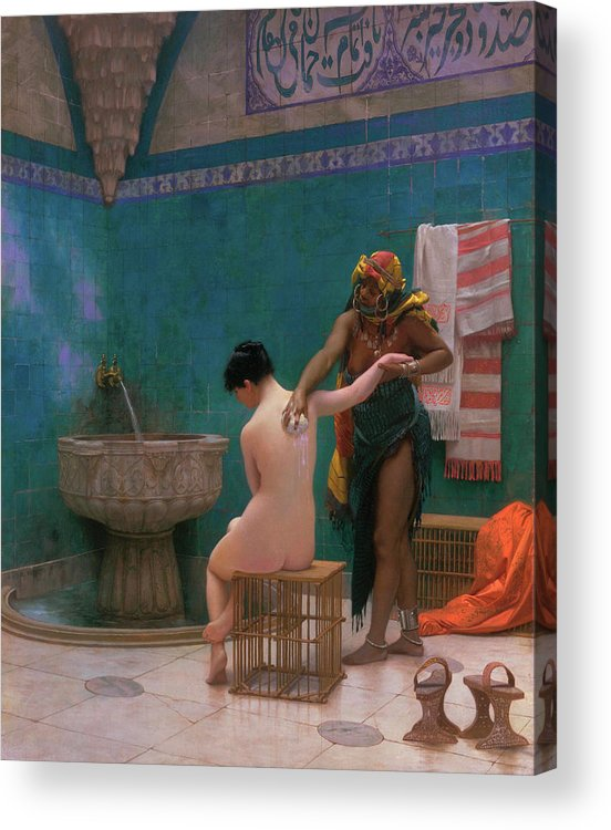 Gerome Jean-leon Acrylic Print featuring the painting Bath by Jean-Leon Gerome