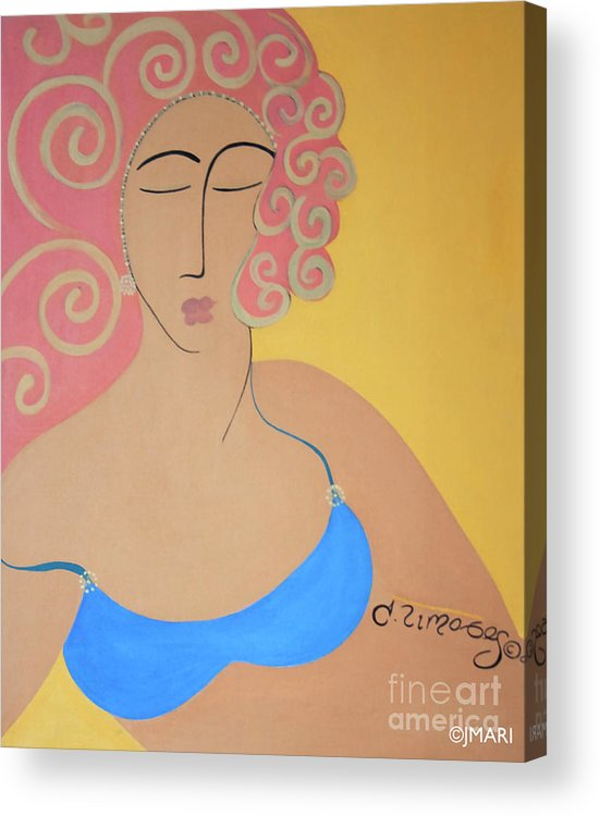 #female Acrylic Print featuring the painting Bathing Beauty by Jacquelinemari