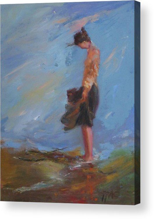 Wind Acrylic Print featuring the painting SOLDBeach Wind II by Irena Jablonski