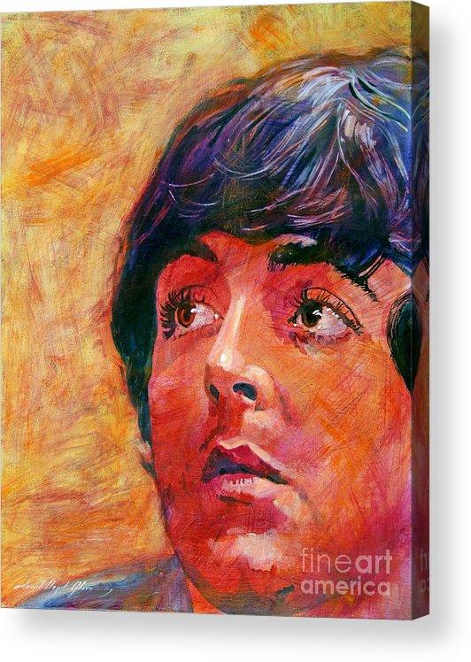 Paul Mccartney Acrylic Print featuring the painting Beatle Paul by David Lloyd Glover