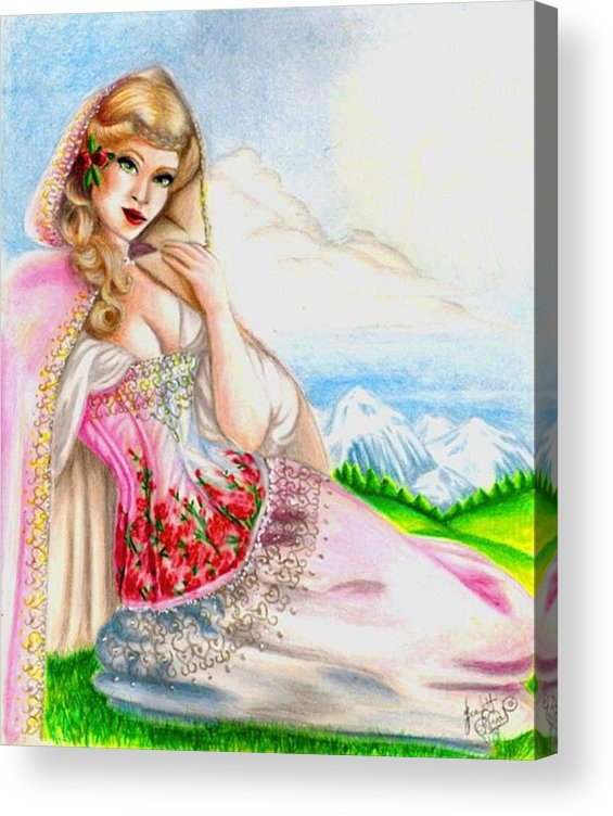 Figure Acrylic Print featuring the drawing Beauty of the View by Scarlett Royal