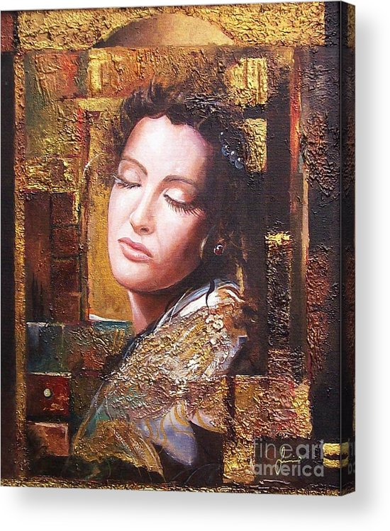 Female Portrait Acrylic Print featuring the painting Because You Are Beautiful by Sinisa Saratlic