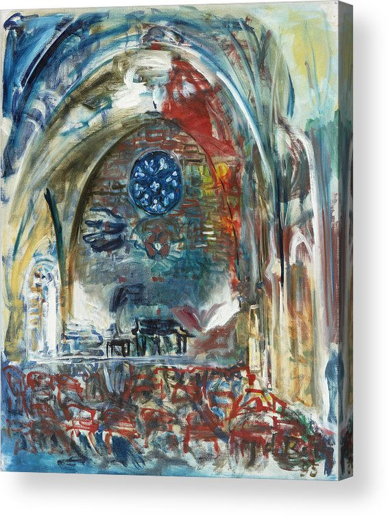 Cyprus Acrylic Print featuring the painting BellaPais Church by Joan De Bot