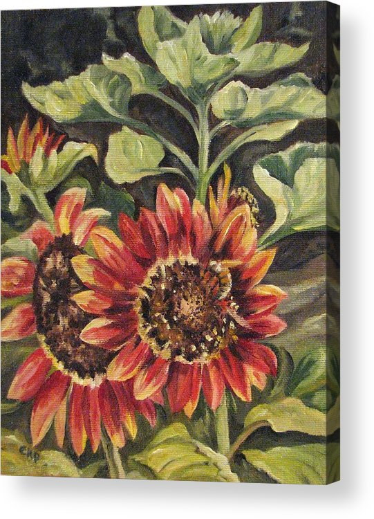 Floral Acrylic Print featuring the painting Betsy's Sunflowers by Cheryl Pass