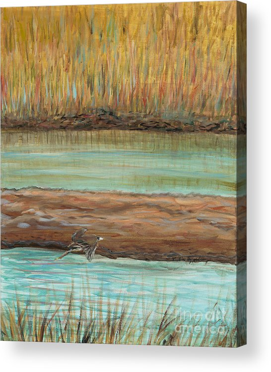 Bird Acrylic Print featuring the painting Bird in Flight by Nadine Rippelmeyer