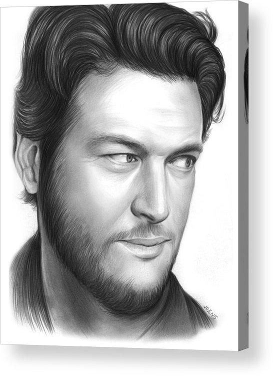 Celebrity Acrylic Print featuring the drawing Blake Shelton by Greg Joens