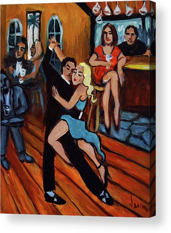 Tango Acrylic Print featuring the painting Bleu Tango by Valerie Vescovi