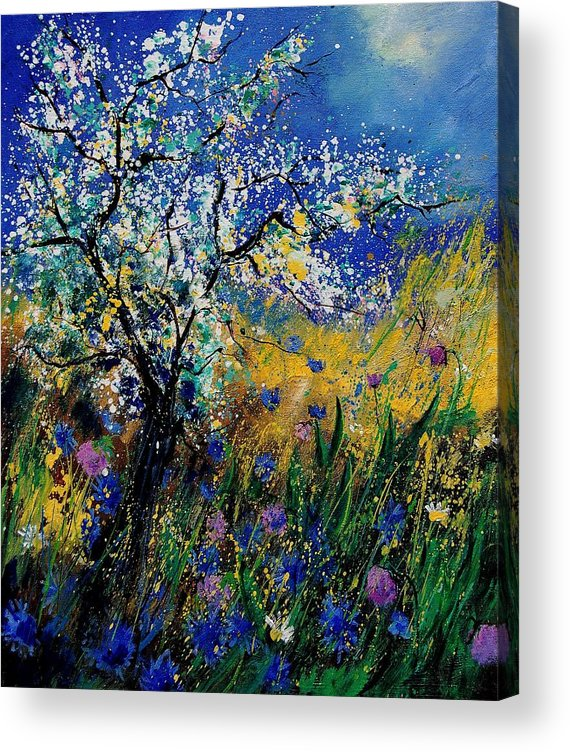 Spring Acrylic Print featuring the painting Blooming appletree by Pol Ledent