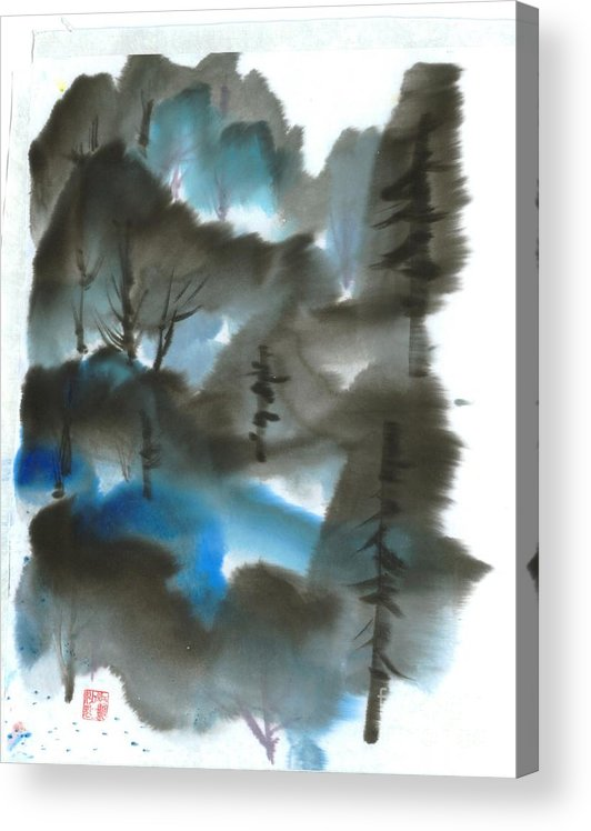 A Forest With A Tint Of Blue. This Is A Contemporary Chinese Ink And Color On Rice Paper Painting With Simple Zen Style Brush Strokes.  Acrylic Print featuring the painting Blue Forest by Mui-Joo Wee