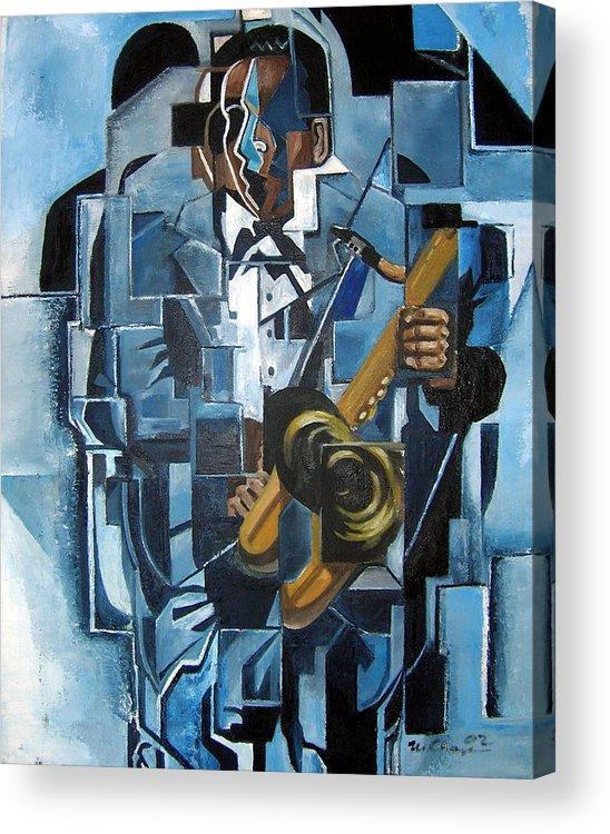 John Coltrane Blue Jazz Saxophone Cubism Acrylic Print featuring the painting Blues Trane by Martel Chapman