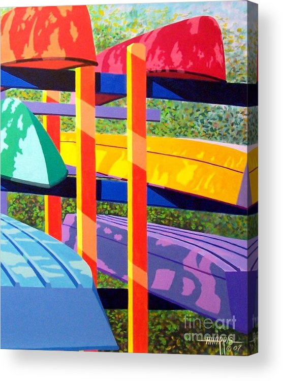 Sunlight Acrylic Print featuring the painting Boat Rack by Hugh Harris