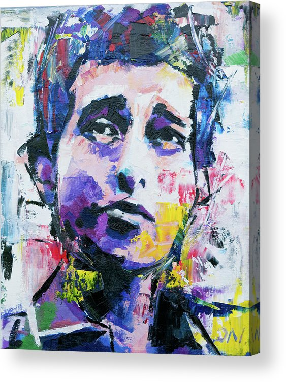 Bob Dylan Acrylic Print featuring the painting Bob Dylan Portrait by Richard Day